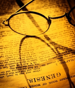 Glasses on the Bible